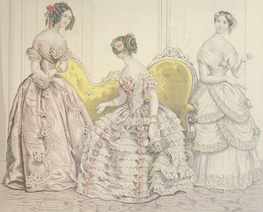 1f06fde2a900 ... kotníky nebo barevnou spodnici. Večerní róby měly v oblibě dvojité  sukně - spodní a svrchní s podkasáním. Po roce 1865 se nosí sukně s šůskem  upevněným ...